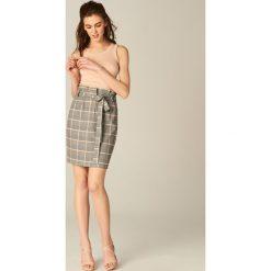 Spódniczki: Ołówkowa spódnica w kratę – Czarny