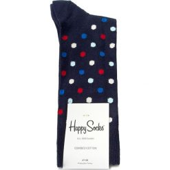 Skarpety Wysokie Męskie HAPPY SOCKS - DOT01-6001  Granatowy. Czerwone skarpetki męskie marki Happy Socks, z bawełny. Za 34,90 zł.