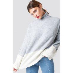 Trendyol Sweter z golfem - Grey. Szare swetry oversize damskie Trendyol, w kolorowe wzory, z materiału. Za 100,95 zł.