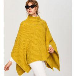 Dzianinowe ponczo - Żółty. Białe poncza marki Reserved, l, z dzianiny. W wyprzedaży za 79,99 zł.