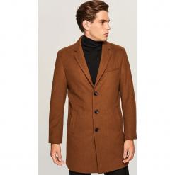 Płaszcz z wełną - Beżowy. Brązowe płaszcze na zamek męskie Reserved, l, z wełny. Za 349,99 zł.