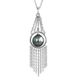 Naszyjniki damskie: Srebrny naszyjnik z perłą Tahiti – (D)42 cm