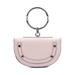 Torebki klasyczne damskie: Skórzana torebka w kolorze pudrowym – (S)15 x (W)23 x (G)5 cm