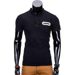 T-SHIRT MĘSKI BEZ NADRUKU S665 - CZARNY. Czarne t-shirty męskie z nadrukiem Ombre Clothing, m, z bawełny, ze stójką. Za 35,00 zł.