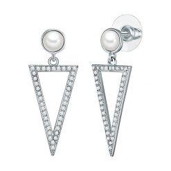 Biżuteria i zegarki: Kolczyki-wkrętki z perłami muszlowymi i cyrkoniami