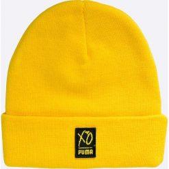 Puma - Czapka Puma x XO The Weeknd. Żółte czapki zimowe męskie Puma, na zimę, z dzianiny. W wyprzedaży za 89,90 zł.