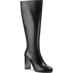 Kozaki GINO ROSSI - Vicenza DKG634-M63-2K00-9900-F 99. Czarne buty zimowe damskie Gino Rossi, z materiału, przed kolano, na wysokim obcasie, na obcasie. W wyprzedaży za 419,00 zł.