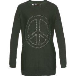 Swetry klasyczne damskie: Długi sweter z aplikacją w kształcie pacyfki ze sztrasów bonprix bardzo ciemny oliwkowy