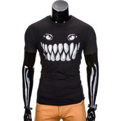 T-shirty męskie: T-SHIRT MĘSKI Z NADRUKIEM S814 - CZARNY
