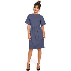 CARLOTTA Sukienka z zakładkami - niebieska. Niebieskie sukienki balowe BE, l, z dresówki, oversize. Za 159,90 zł.