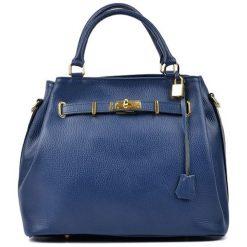 Torebki klasyczne damskie: Skórzana torebka w kolorze niebieskim – (S)38 x (W)30 x (G)20 cm
