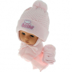 Czapka niemowlęca z szalikiem i rękawiczkami CZ+S+R 011C. Szare czapeczki niemowlęce Proman. Za 45,90 zł.