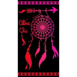 """Kąpielówki męskie: Ręcznik plażowy """"Dream"""" w kolorze czarno-różowym – 160 x 86 cm"""