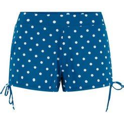 Szorty kąpielowe z figami wewnętrznymi, szybko schnące bonprix niebieskozielono-biały w kropki. Niebieskie bikini bonprix, w kropki. Za 79,99 zł.