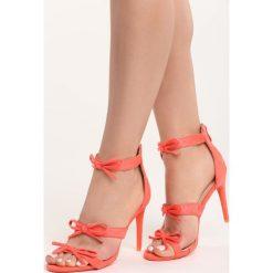 Pomarańczowe Sandały Lumos. Brązowe sandały damskie marki Born2be, w paski, na wysokim obcasie, na szpilce. Za 99,99 zł.