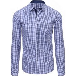 Koszule męskie na spinki: Niebieska koszula męska w kratę z długim rękawem (dx1497)