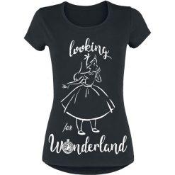 Alicja w Krainie Czarów Looking For Wonderland Koszulka damska czarny. Czarne bluzki na imprezę Alicja w Krainie Czarów, s, z nadrukiem, z okrągłym kołnierzem, z krótkim rękawem. Za 54,90 zł.