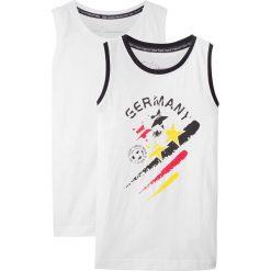 Top na szerokich ramiączkach Niemcy (2 szt.) bonprix biały z nadrukiem + biały. Białe t-shirty chłopięce z nadrukiem bonprix, z kontrastowym kołnierzykiem, na ramiączkach. Za 39,98 zł.
