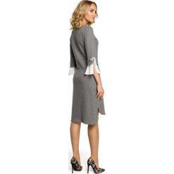 KLARA Sukienka z warstwowymi rękawami - szara. Brązowe sukienki balowe marki Moe, l, z bawełny. Za 159,90 zł.