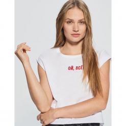 Koszulka z napisem MIX and MATCH - Biały. Białe t-shirty damskie marki Cropp, l, z napisami. Za 39,99 zł.