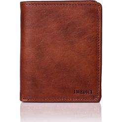 Portfele męskie: Skórzany portfel w kolorze brązowym – 13 x 11 x 2,5 cm