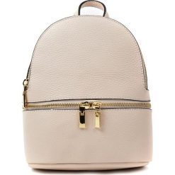 Plecaki damskie: Skórzany plecak w kolorze beżowym – 19 x 22 x 11 cm