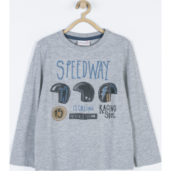 Koszulka. Szare t-shirty chłopięce z długim rękawem MOTORCYCLE CLUB, z aplikacjami, z bawełny. Za 49,90 zł.