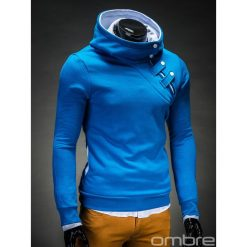 BLUZA MĘSKA Z KAPTUREM PACO - TURKUSOWO/BIAŁA. Białe bluzy męskie rozpinane Ombre Clothing, m, z bawełny, z kapturem. Za 69,00 zł.