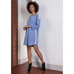 Niebieska Luźna Sportowa Mini Sukienka z Lampasami. Czerwone sukienki mini marki House, l, z napisami, sportowe, sportowe. Za 168,90 zł.