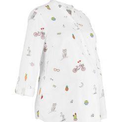 Bluzka ciążowa i do karmienia bonprix biały z nadrukiem. Białe bluzki ciążowe marki bonprix, z nadrukiem, z wiskozy, z dekoltem w serek, moda ciążowa. Za 59,99 zł.
