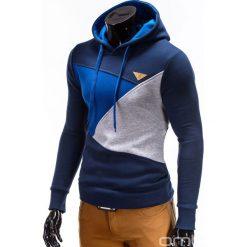 BLUZA MĘSKA Z KAPTUREM B342 - GRANATOWA. Niebieskie bluzy męskie rozpinane marki Ombre Clothing, m, z bawełny, z kapturem. Za 79,00 zł.