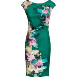 Sukienka bonprix zielony miętowy w kwiaty. Zielone sukienki marki bonprix, w kwiaty, dopasowane. Za 179,99 zł.