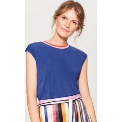 Koszulka z lamówką w prążki - Niebieski. Niebieskie t-shirty damskie Mohito, l, w prążki. W wyprzedaży za 29,99 zł.