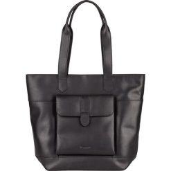 Shopper bag damskie: Skórzany shopper bag w kolorze czarnym – 42 x 34 x 11 cm