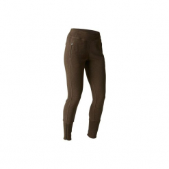 Spodnie dresowe Slim Gym & Pilates 500 damskie. Brązowe bryczesy damskie marki DOMYOS, l, z bawełny, na jogę i pilates. W wyprzedaży za 59,99 zł.