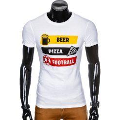 T-shirty męskie: T-SHIRT MĘSKI Z NADRUKIEM S967 – BIAŁY