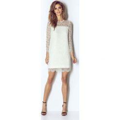 Białą Wizytowa Trapezowa Sukienka Koronkowa z Dzwonkowym Rękawem. Białe sukienki koktajlowe marki Molly.pl, na imprezę, l, z koronki, trapezowe. Za 298,90 zł.