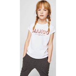 Mango Kids - Top dziecięcy Mangof2 104-164 cm. Szare bluzki dziewczęce marki Mango Kids, z nadrukiem, z bawełny, z okrągłym kołnierzem. W wyprzedaży za 19,90 zł.
