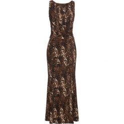 Sukienka bonprix brązowy leo. Brązowe długie sukienki marki bonprix, z nadrukiem, z długim rękawem. Za 79,99 zł.