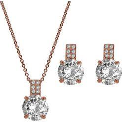 Kolczyki damskie: 2-częściowy zestaw w kolorze różowego złota – naszyjnik, kolczyki