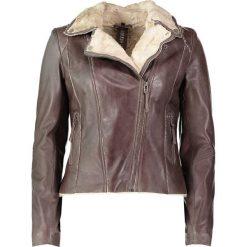 """Bomberki damskie: Skórzana kurtka """"Yukon Gold"""" w kolorze ciemnobrązowym"""