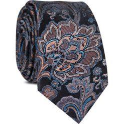Krawat jedwabny KWWR000345. Czarne krawaty męskie Giacomo Conti, w kolorowe wzory, z jedwabiu, eleganckie. Za 129,00 zł.