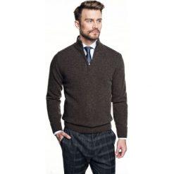 Sweter nagore troyer brąz. Czarne swetry klasyczne męskie Recman, m, z kołnierzem typu troyer. Za 249,00 zł.