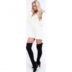 Kremowy sweter oversize 0211. Białe swetry oversize damskie Fasardi. Za 89,00 zł.