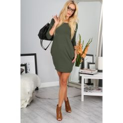 Khaki Minimalistyczna Sukienka 9988. Brązowe sukienki Fasardi, l, oversize. Za 39,00 zł.