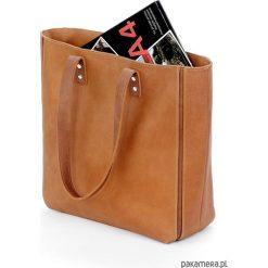 Skórzana carmelowa duża torebka damska. Brązowe torebki klasyczne damskie Pakamera, ze skóry, duże. Za 240,00 zł.