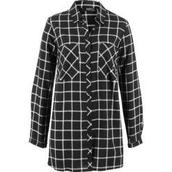Długa tunika, szeroki fason bonprix czarno-biały w kratę. Białe tuniki damskie z długim rękawem bonprix. Za 74,99 zł.