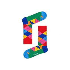 Skarpetki Happy Socks - Argyle (ARY01-4001). Szare skarpetki męskie Happy Socks, w kolorowe wzory, z bawełny. Za 34,90 zł.