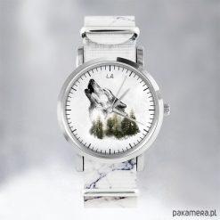 Zegarki damskie: Zegarek - Wilk - marmurkowy, nato