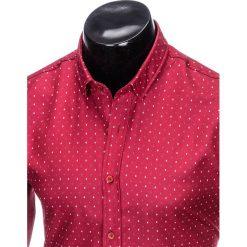 KOSZULA MĘSKA ELEGANCKA Z DŁUGIM RĘKAWEM K414 - BORDOWA. Brązowe koszule męskie marki Ombre Clothing, m, z aplikacjami, z kontrastowym kołnierzykiem, z długim rękawem. Za 49,00 zł.